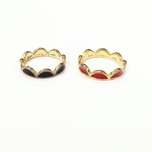 KATE SPADE ♠️ scalloped red & navy rings size 5